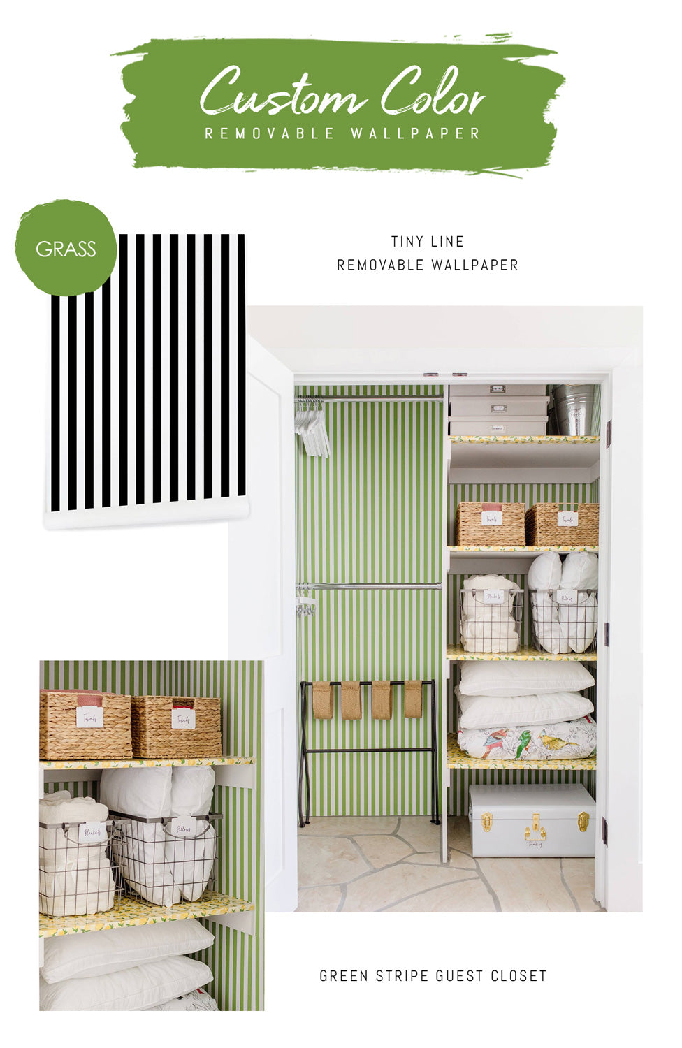 Custom color tiny stripe wallpaper for guest closet project