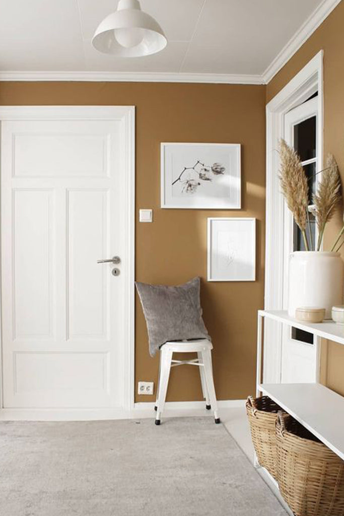 Entryway interior with Dulux Spiced Honey paint color 2019.