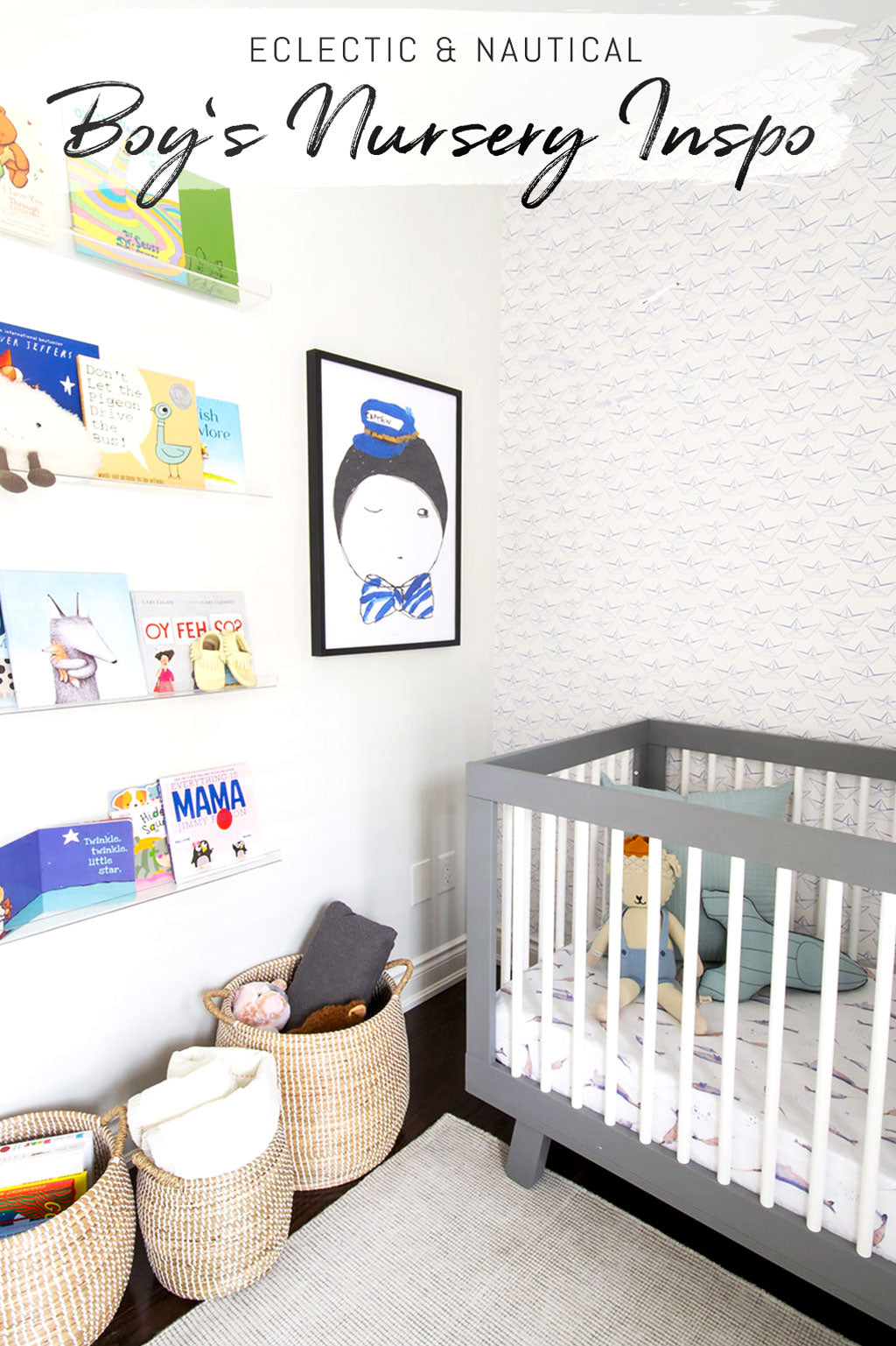 Modern and bright baby nursery interior with coastal nautical style and colorful eclectic interior decor