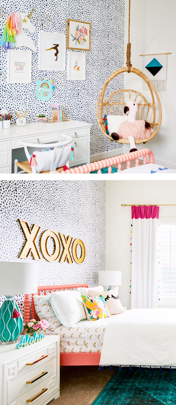 Eclectic girls bedroom with animal print removable wallpaper, rattan hanging chair and rainbow interior decor