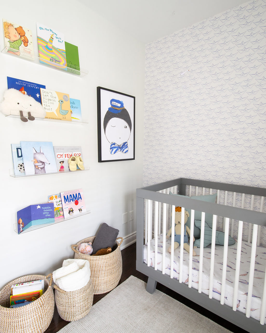 Modern style baby boys nursery with nautical theme and colorful eclectic interior decor