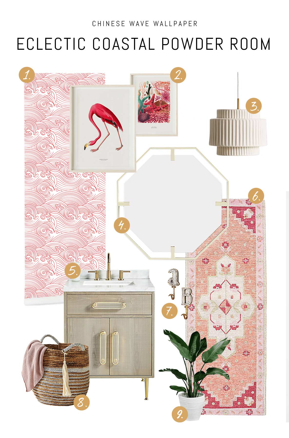 Eclectic coastal style powder room mood board idea with pink color palette and flamingo room decor and removable wallpaper