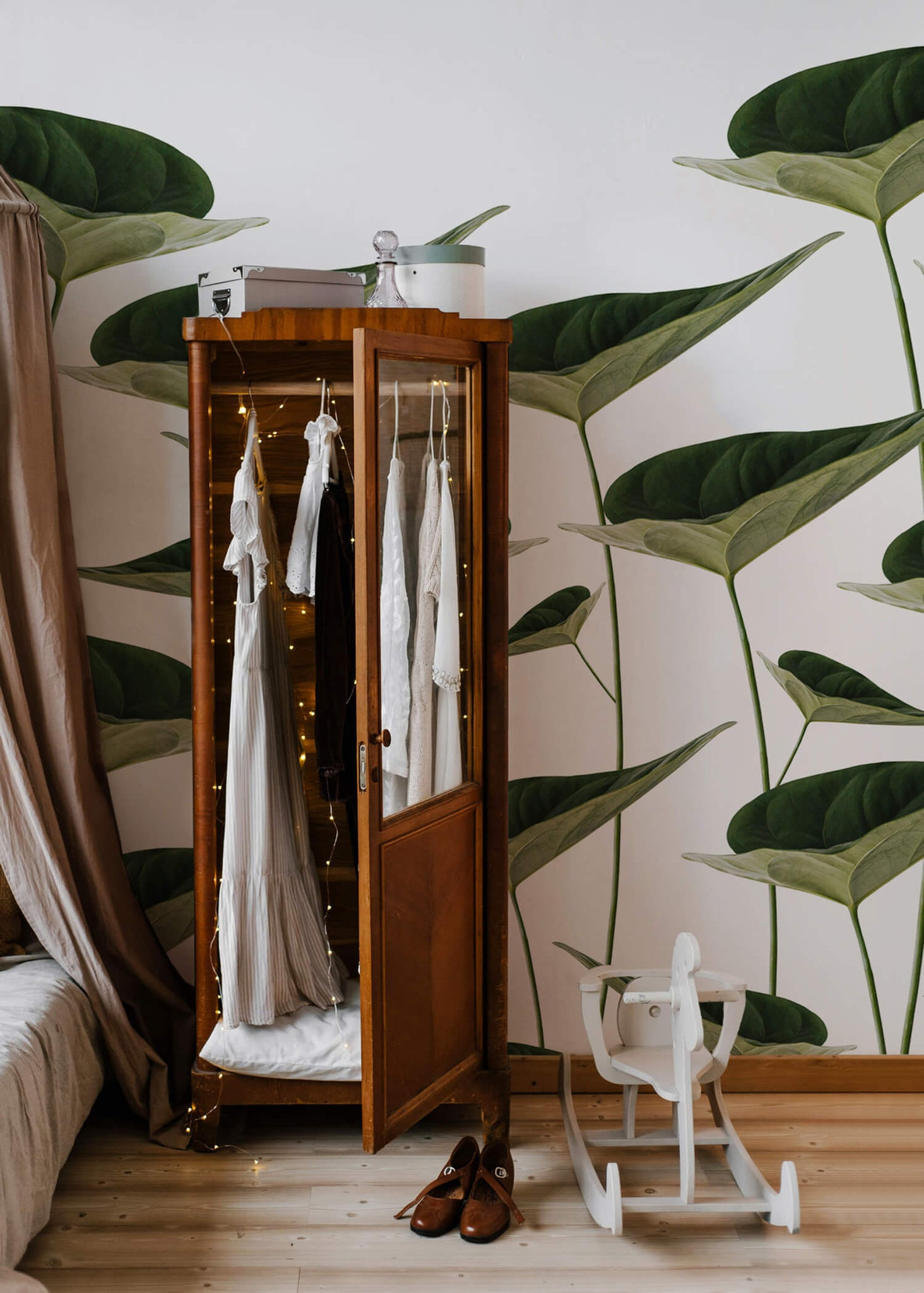 Magical woodland girls room interior with vintage botanical removable wallpaper