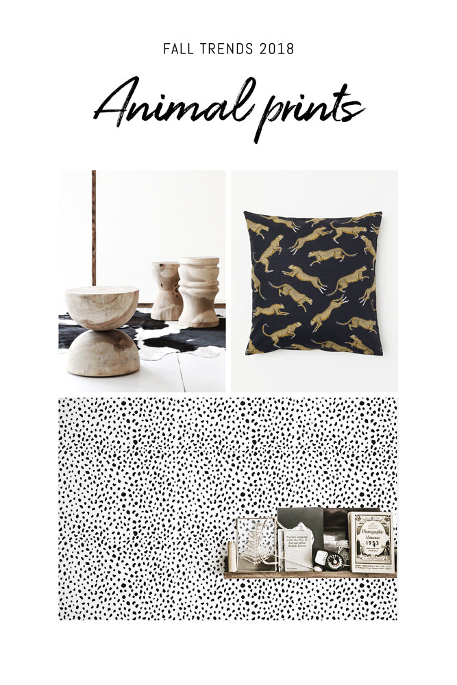 Animal print pillow and modern Dalmatian pattern wallpaper