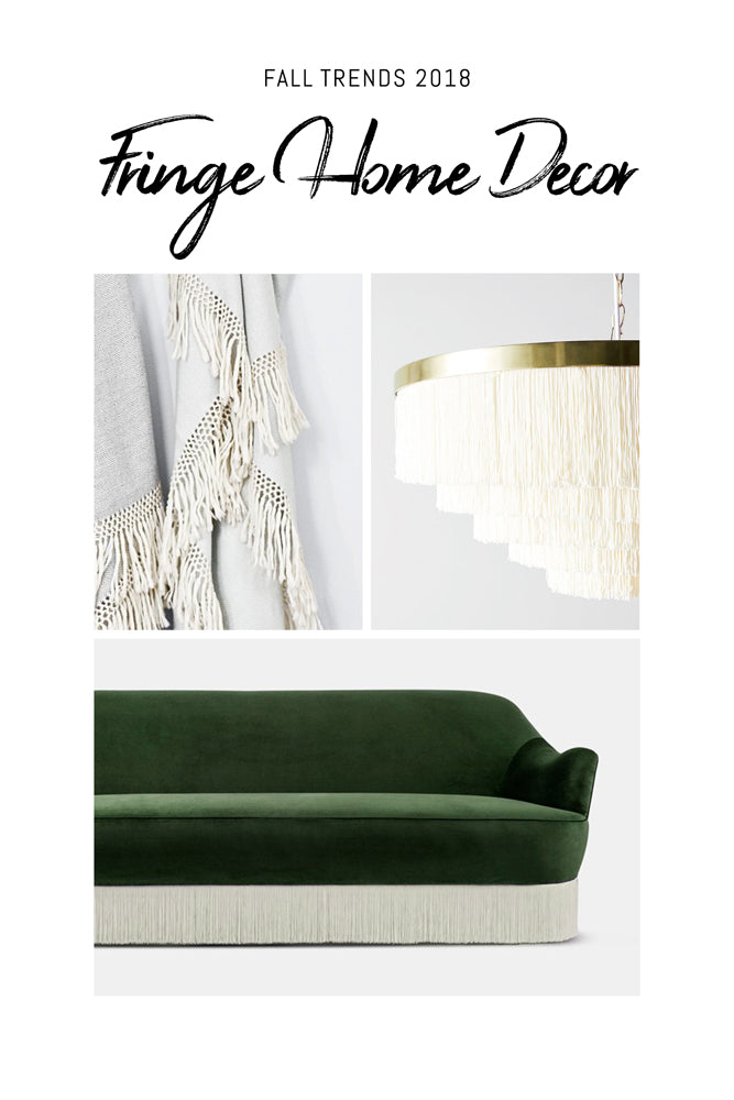 White fringe home decor with green velvet sofa