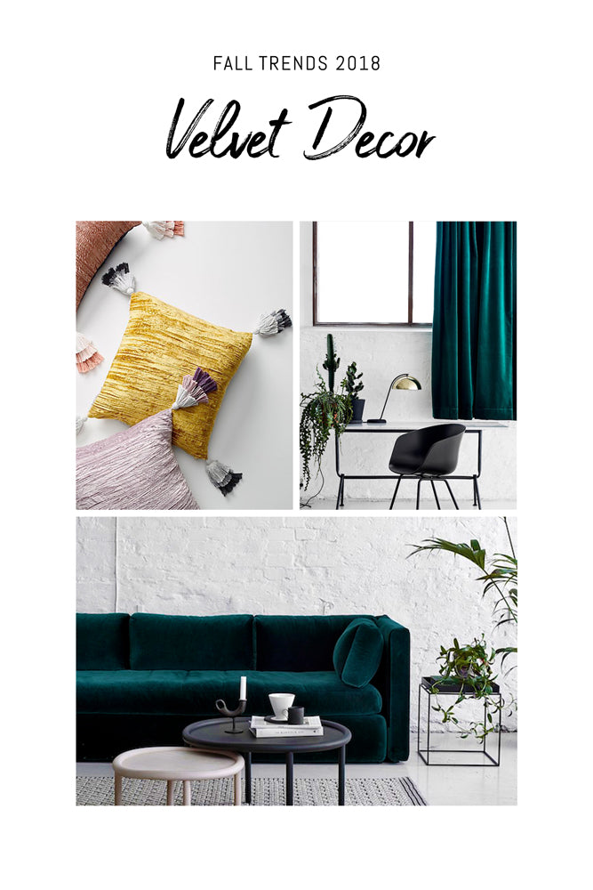 Velvet home accessories and decors in emerald green & yellow tones