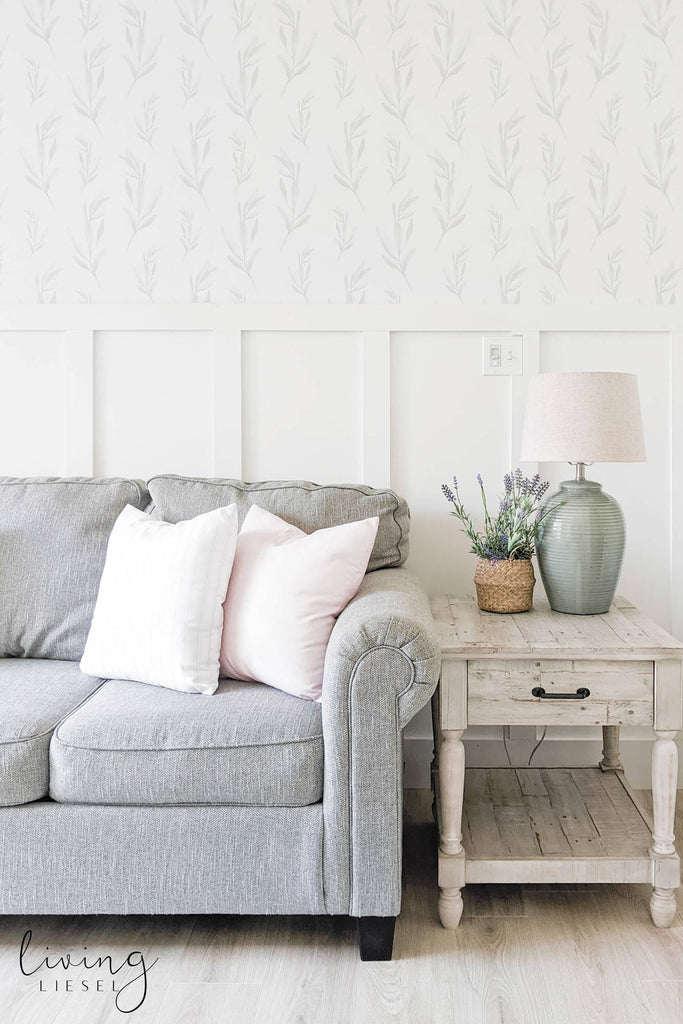 Modern farmhouse style guest room interior styled with grey foliage removable wallpaper