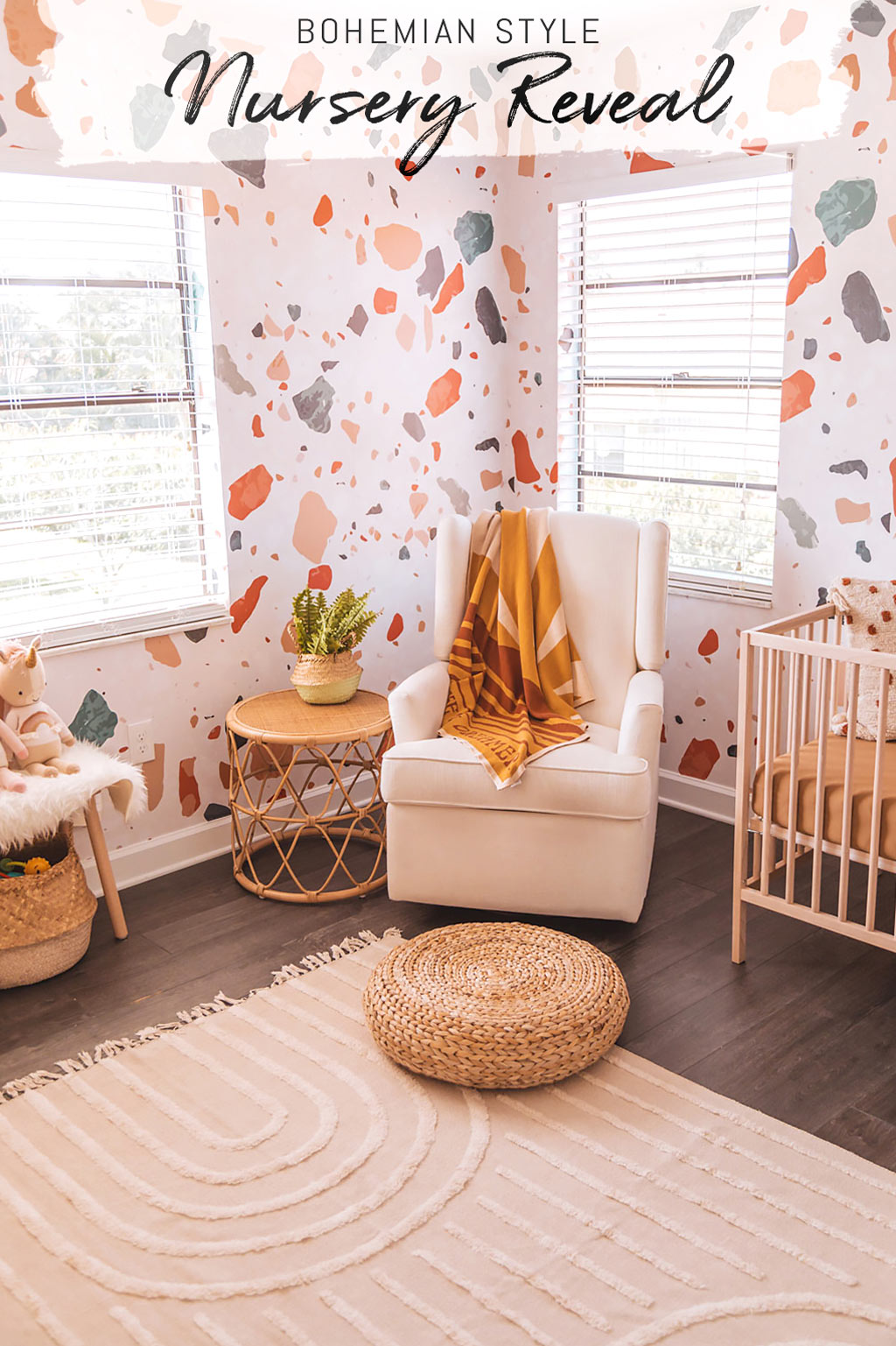 Modern boho baby girl nursery interior with terrazzo design removable wallpaper