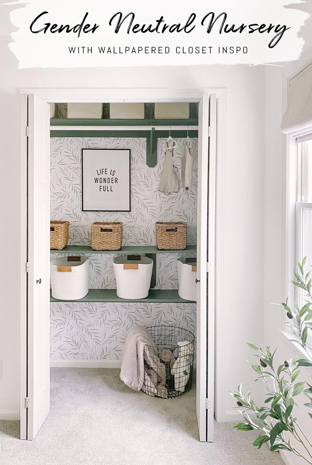 Gender neutral nursery design inspiration with botanical removable wallpaper by Livettes Wallpaper