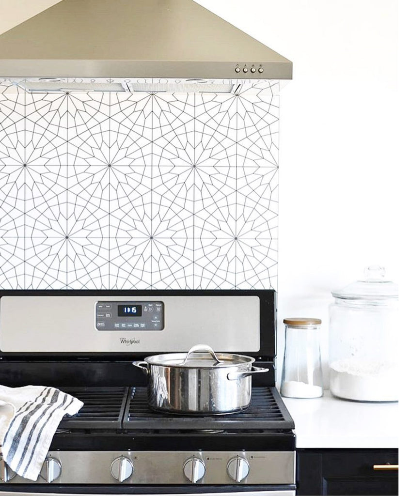 Removable wallpaper used as kitchen backsplash behind the stove