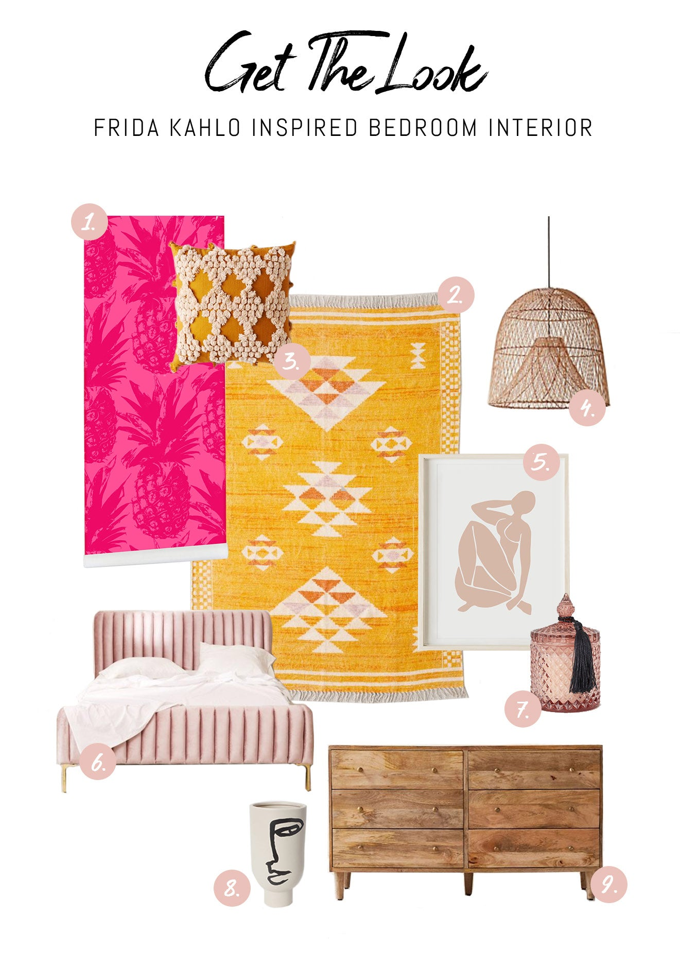 Modern Frida Kahlo inspired bedroom interior design with blush pink velvet bed, sunny yellow mexican area rug and soft pink interior decor elements