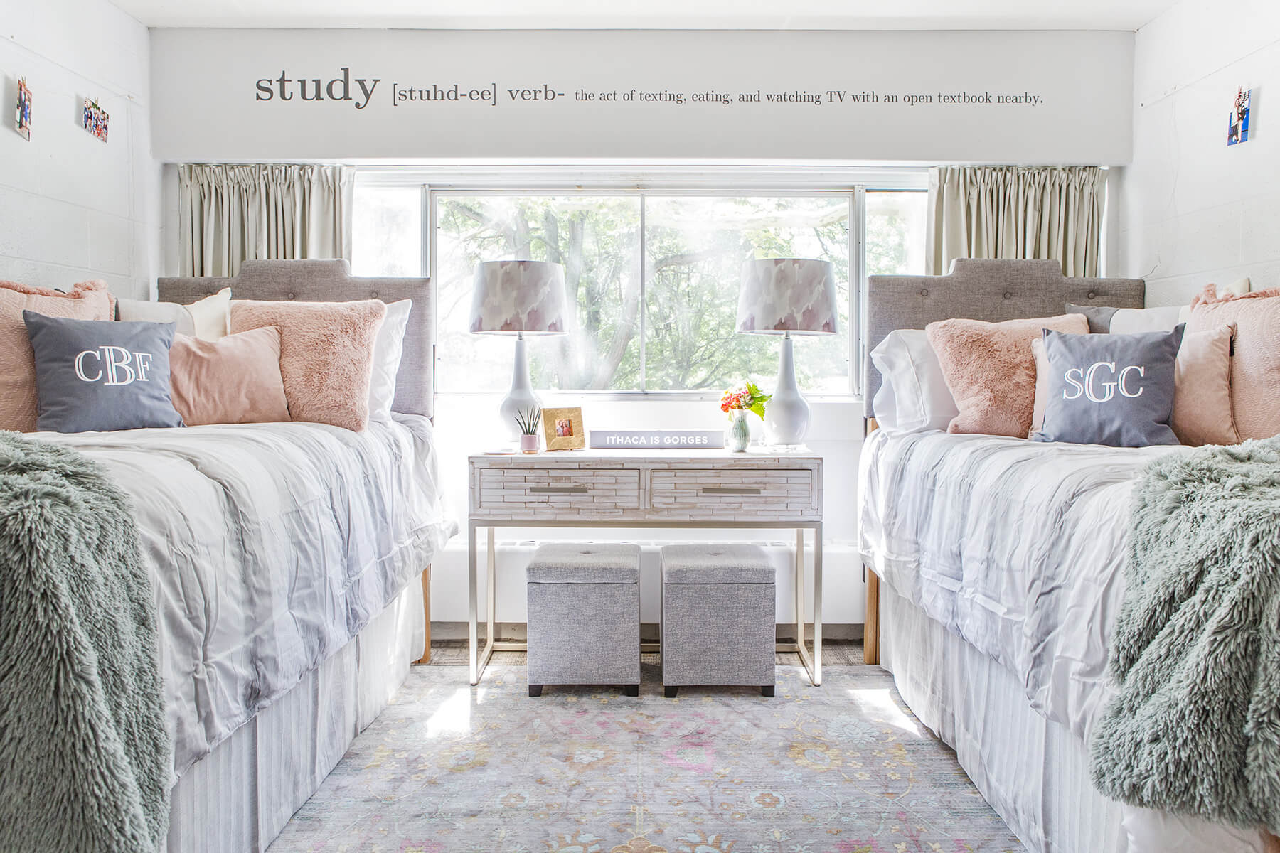 Fab after picture of dorm room makeover for girls, bright white, grey and gold color interior decor in white interior with blush pink and grey plush pillows