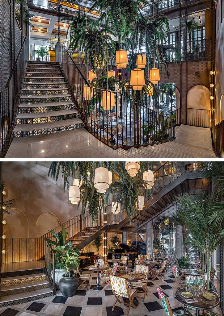 Staircase of Habanera restaurant in Madrid