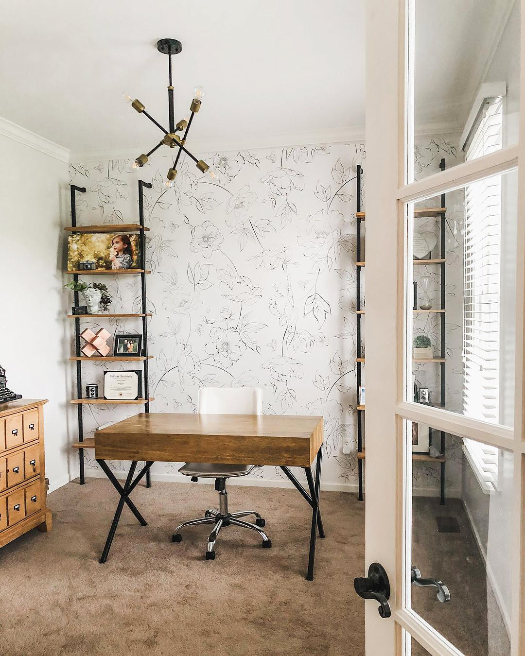Modern farmhouse chic style home office interior design with floral removable wallpaper