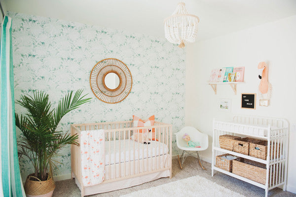 Subtle tropical nursery with palm leaves wallpaper