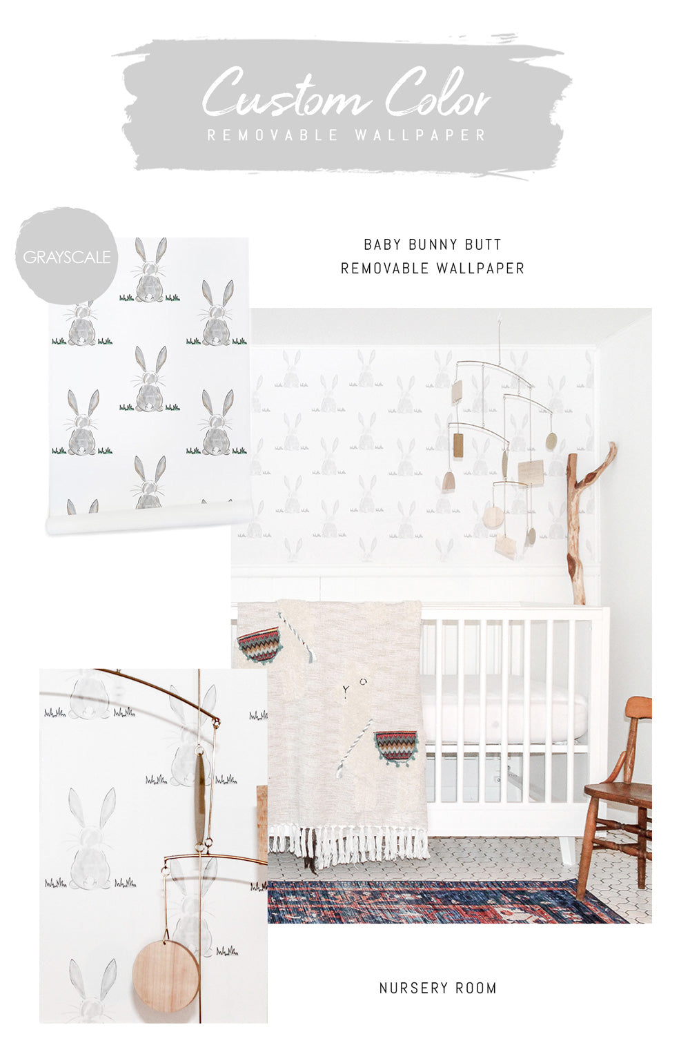 Greyscale bunny butt removable wallpaper for a boho nursery