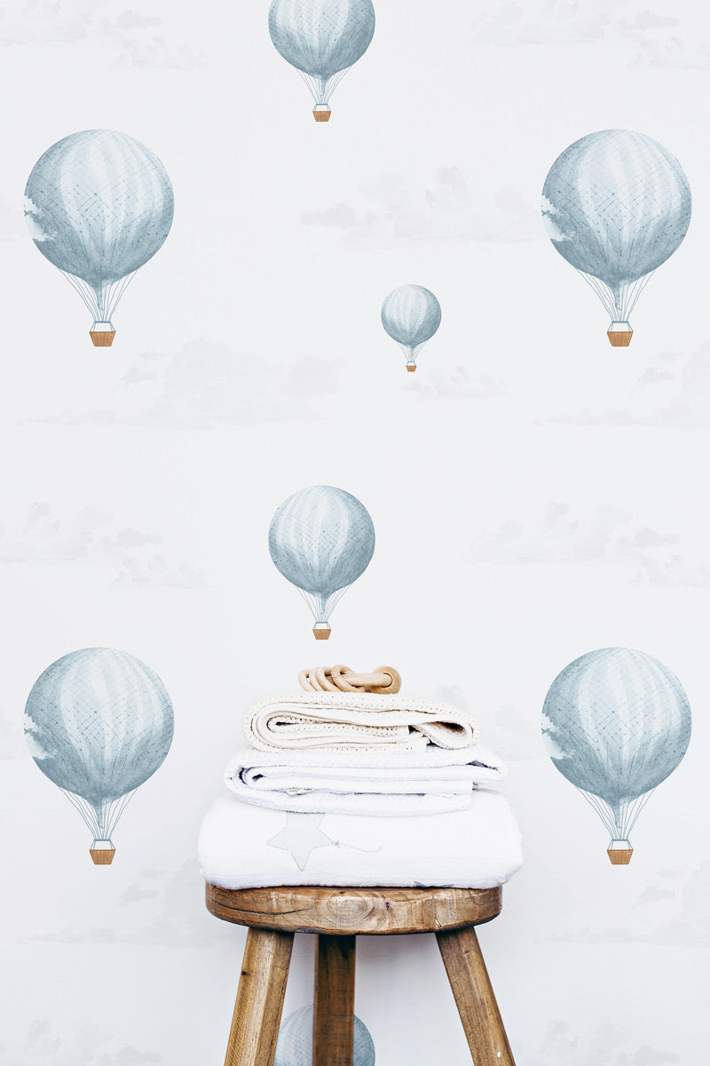 Vintage style air balloon illustration wallpaper for kids room interior