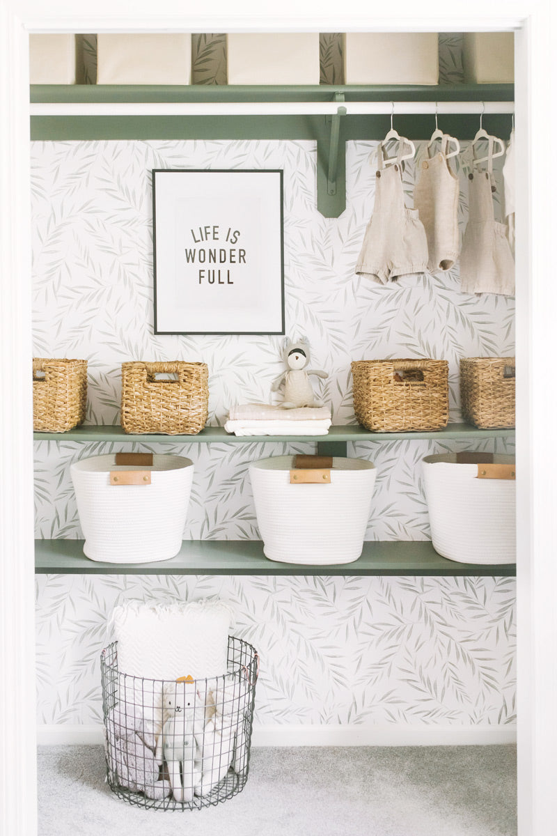 Botanical foliage removable wallpaper styled in nursery closet