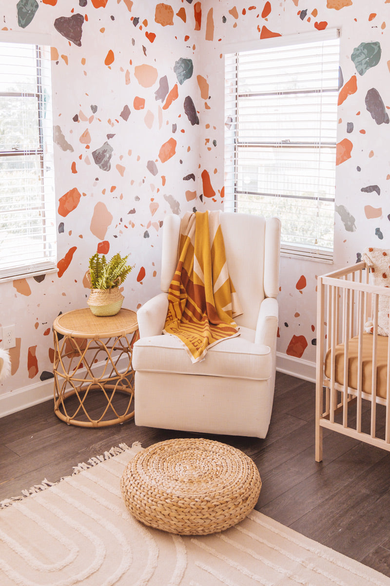 Colourful gender neutral abstract shape nursery wallpaper