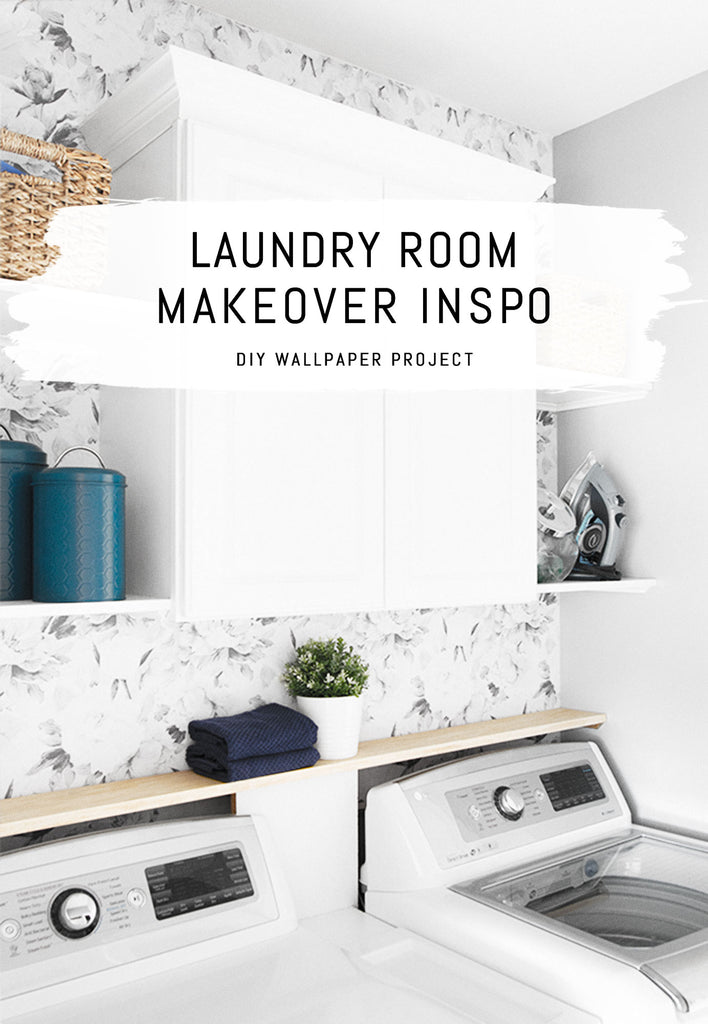 Laundry room makeover with removable wallpaper