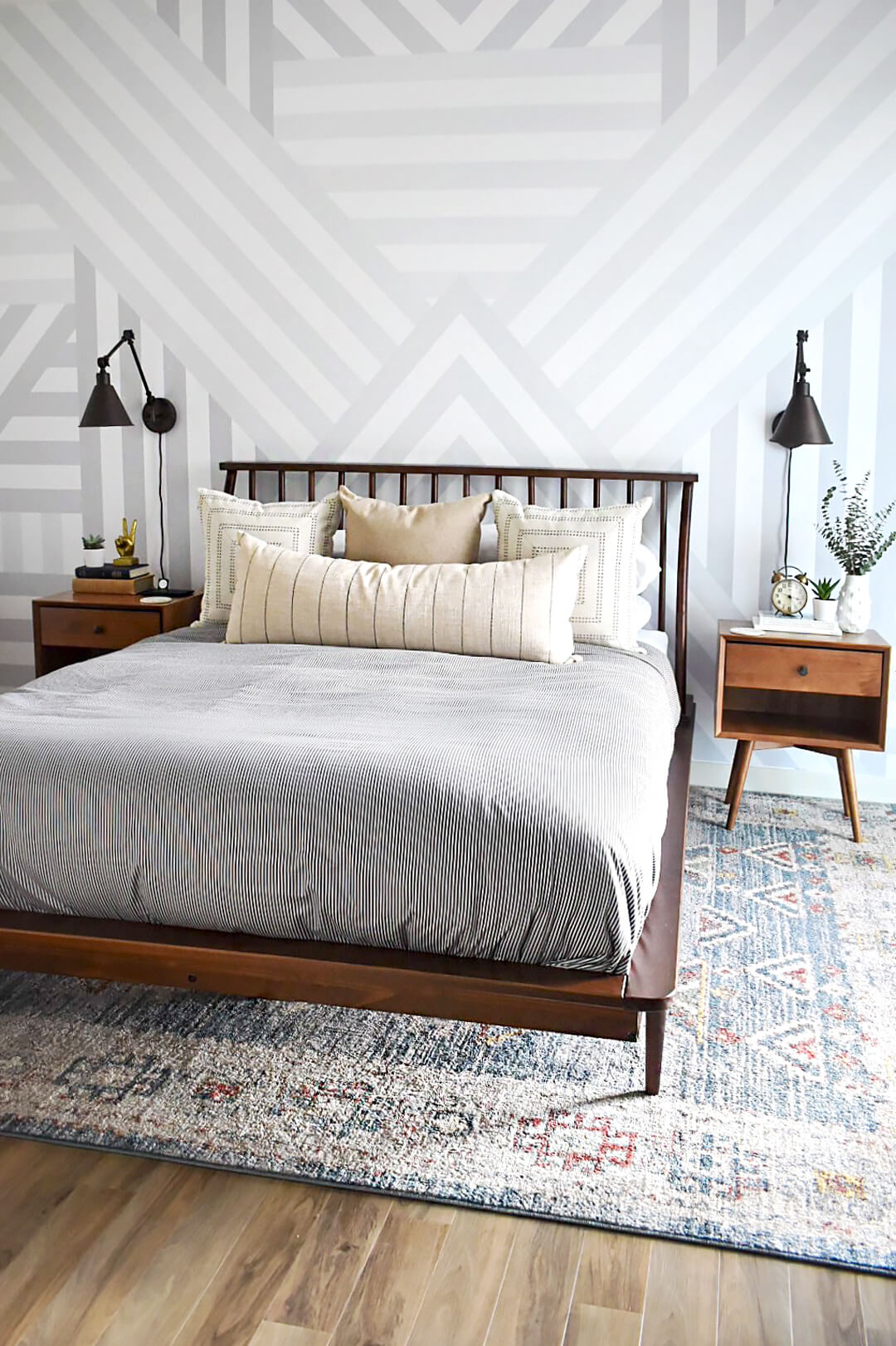 Mid Century Modern Bedroom Design With Graphic Removable Wall Mural Livettes