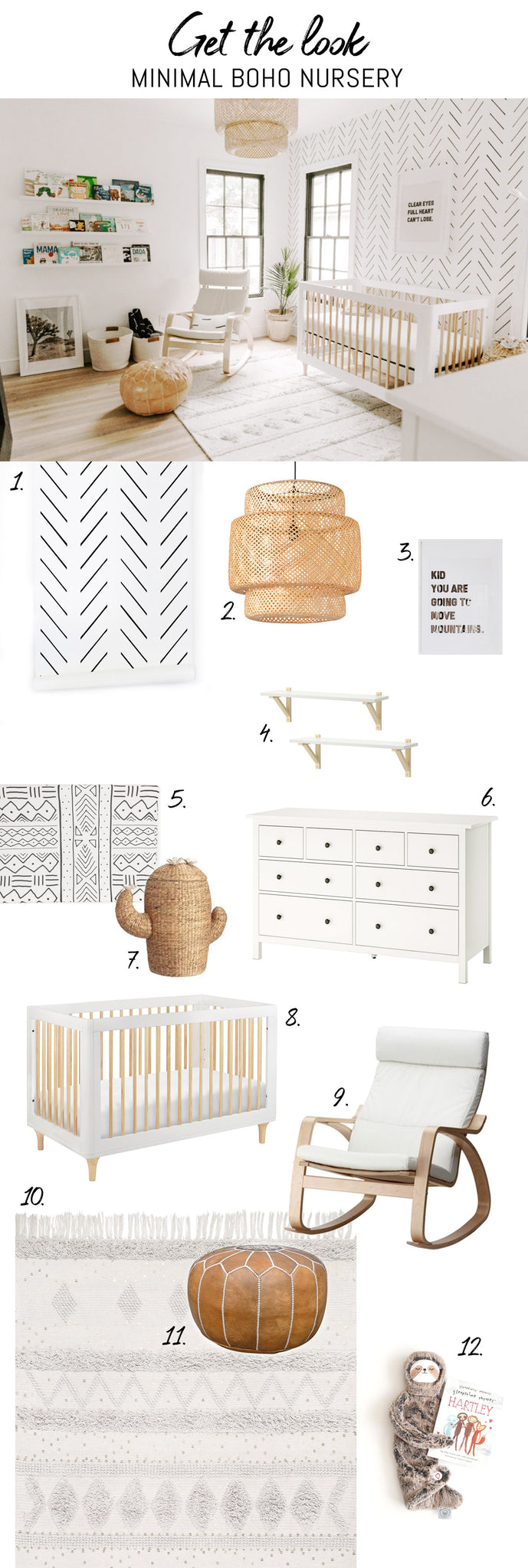 Minimal boho nursery inspiration, get the look mood board