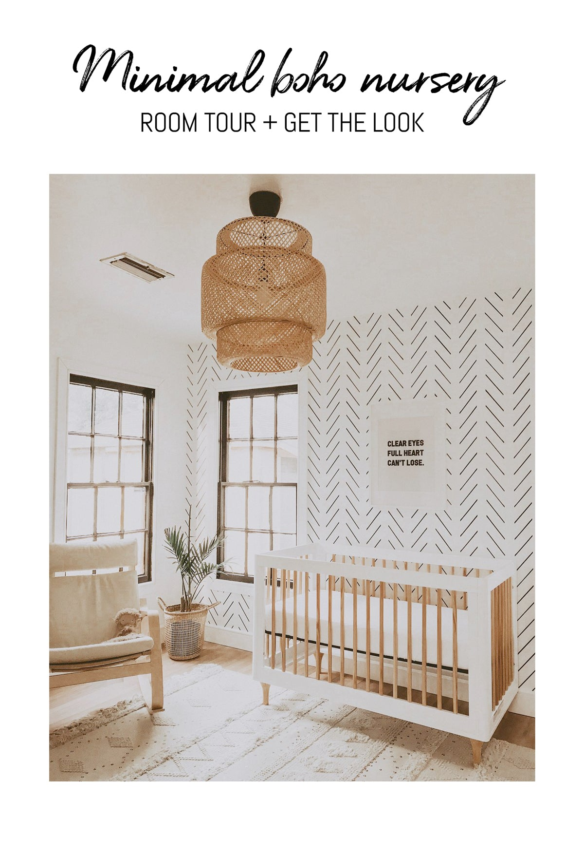 minimal boho nursery design with details to shop the look