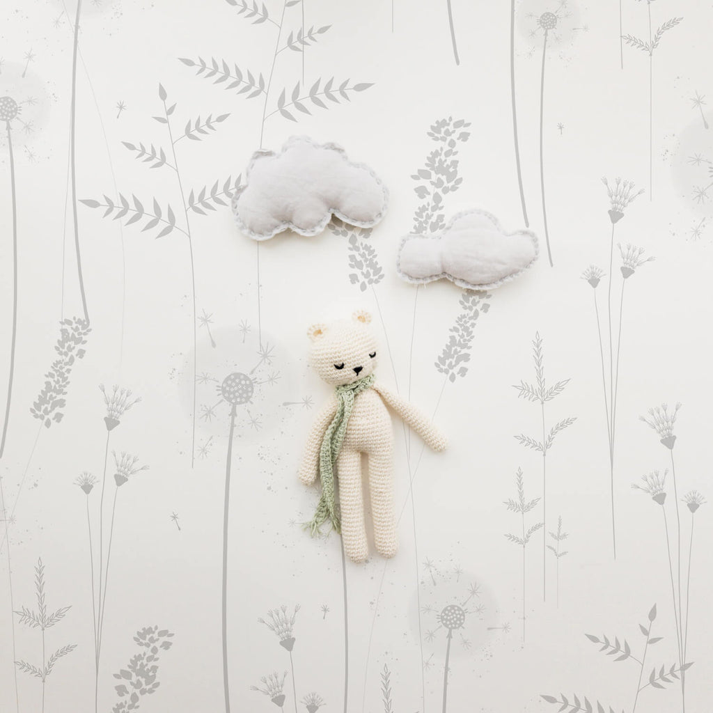 Beautiful delicate meadow wildflower removable wallpaper for nursery interior
