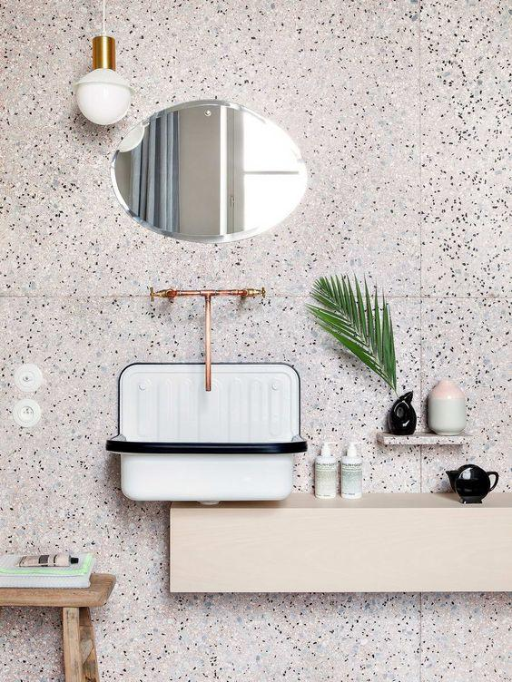 Terrazzo bathroom backsplash in pink