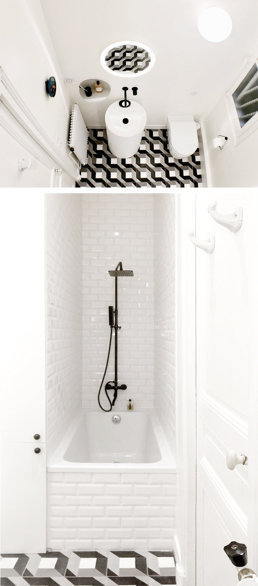 Black and white bathroom with geometric floor tiles and metro tiles in shower area
