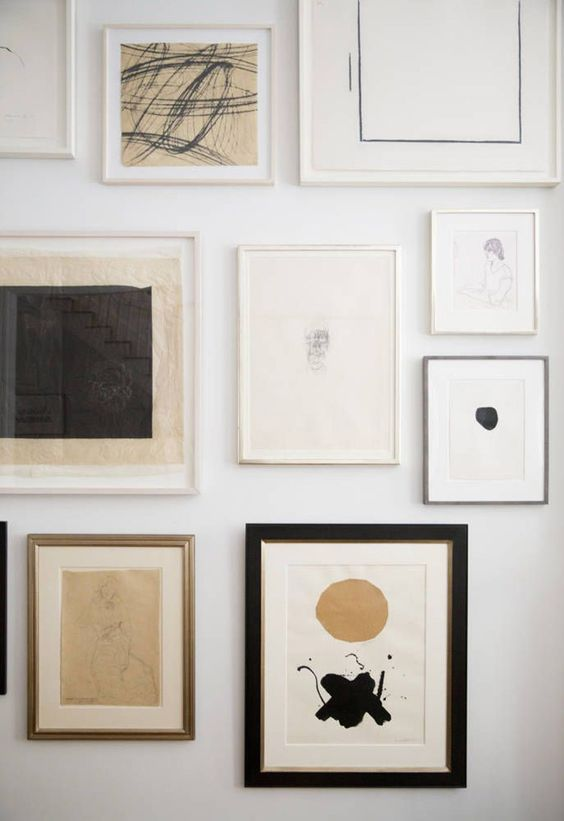 Modern minimal gallery wall in neutral colors