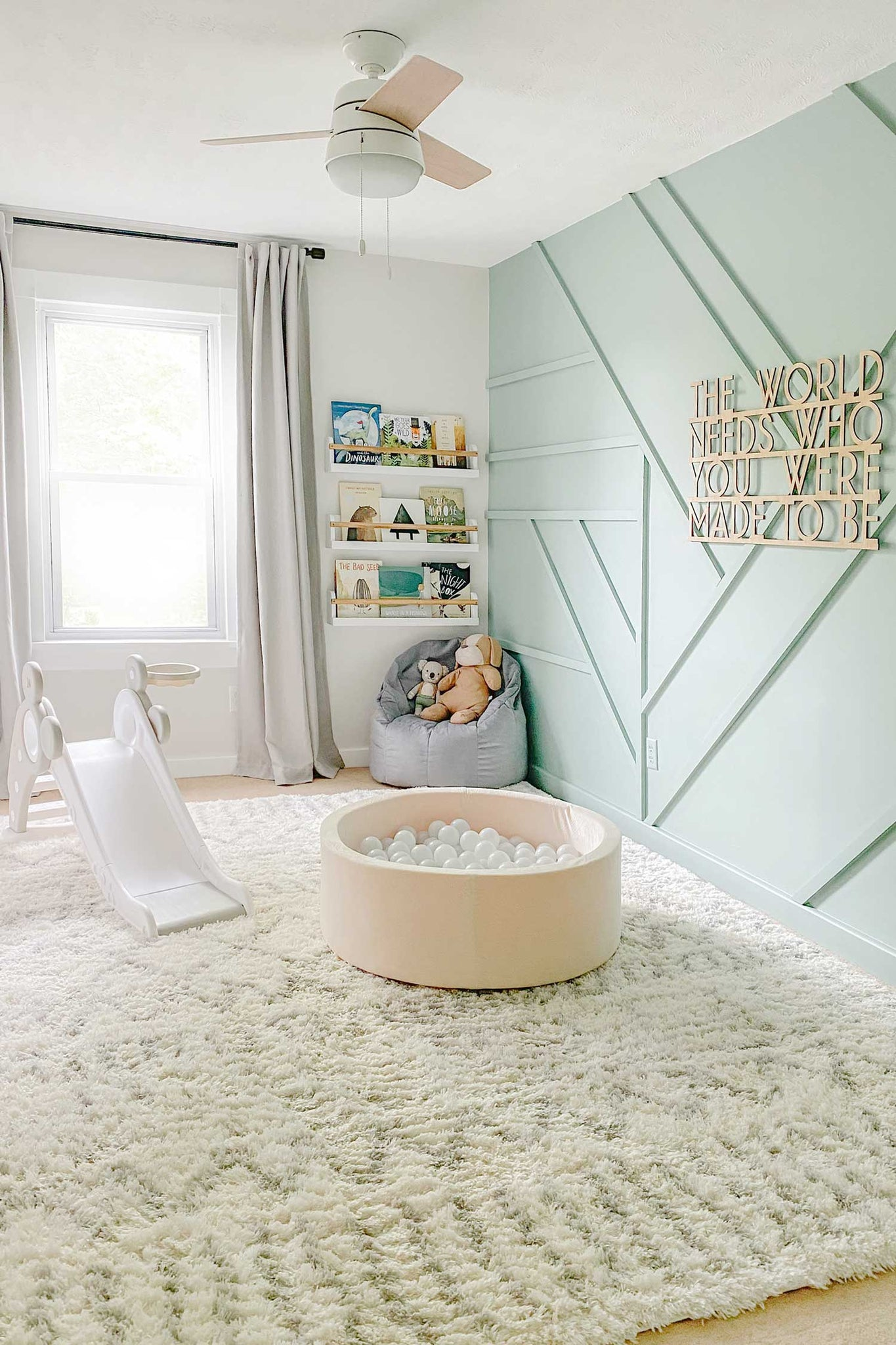 DIY accent wall interior featuring removable wallpaper