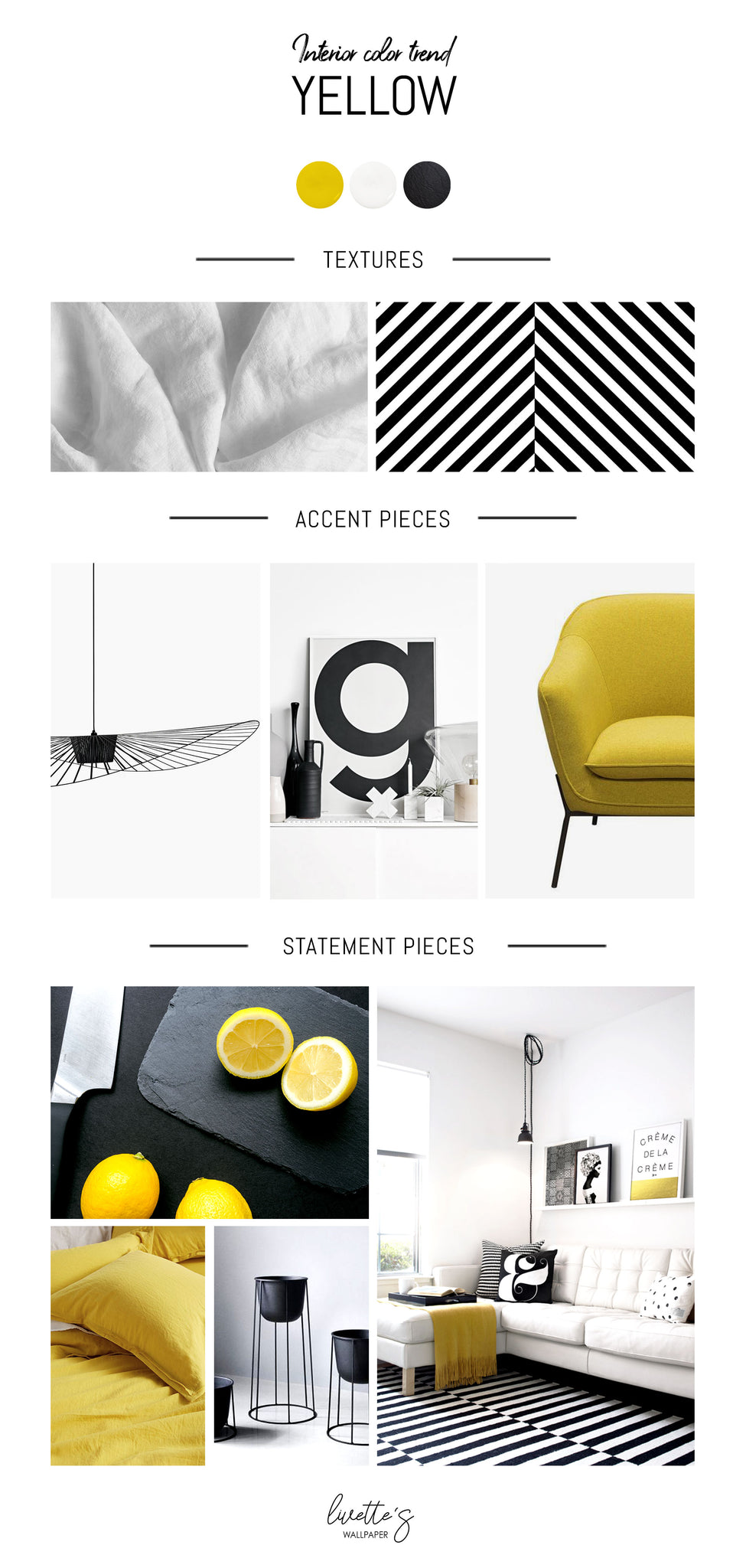 Yellow color trend inspiration mood board for interior design