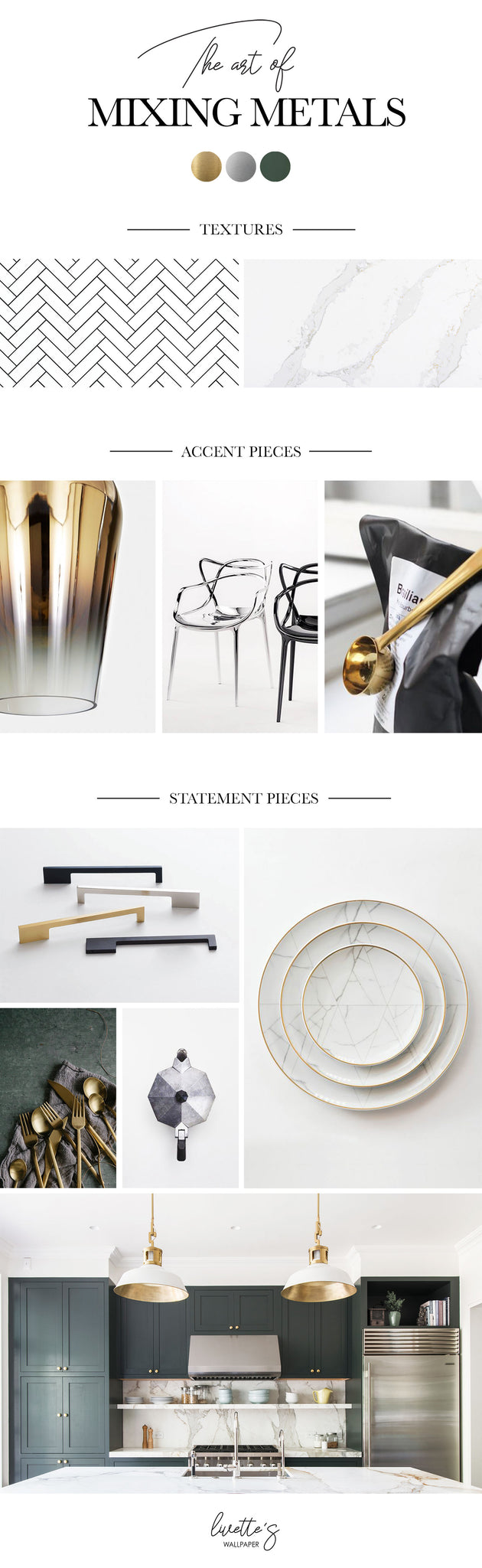 Mixed metals mood board for home interior