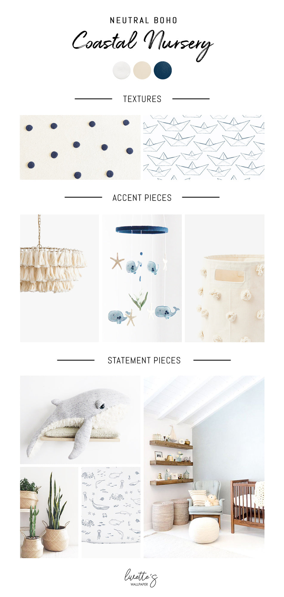 Neutral boho coastal nursery interior design inspiration mood board