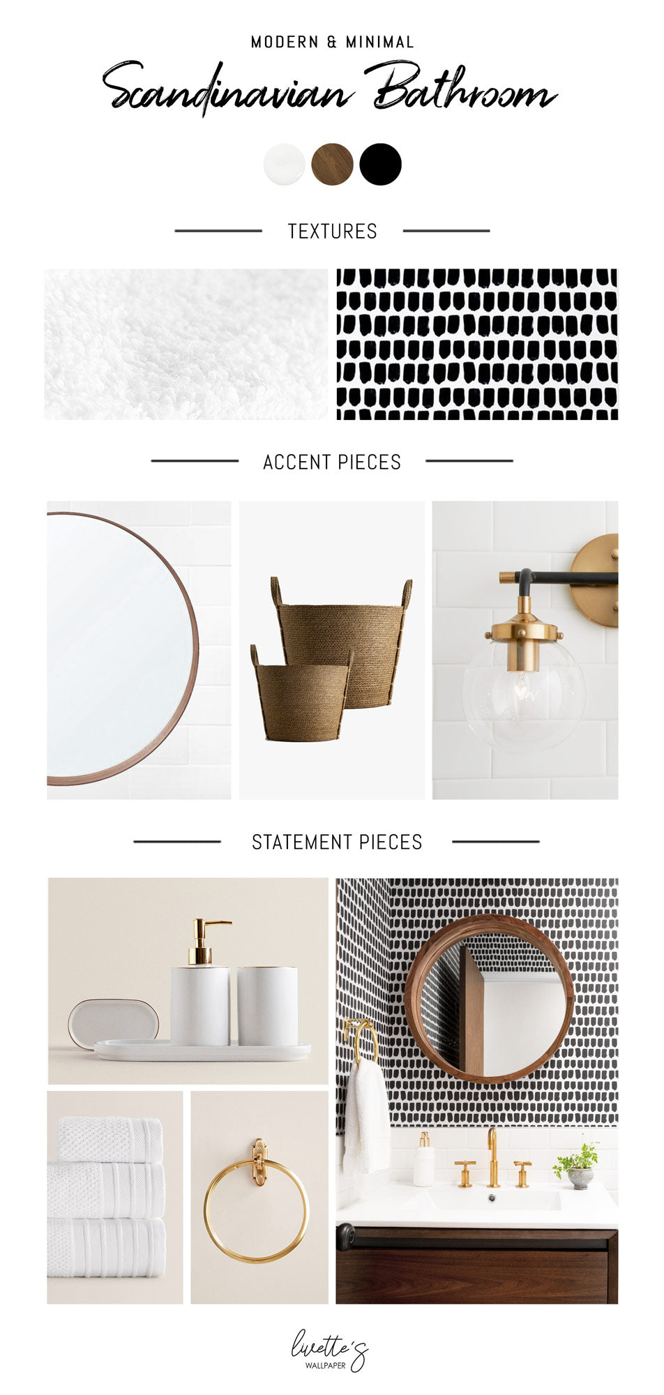 Scandinavian style bathroom interior inspiration mood board