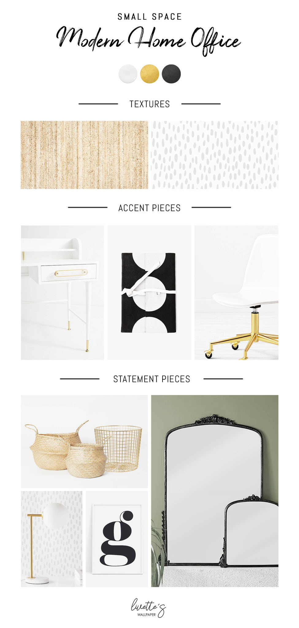 Small space home office design mood board