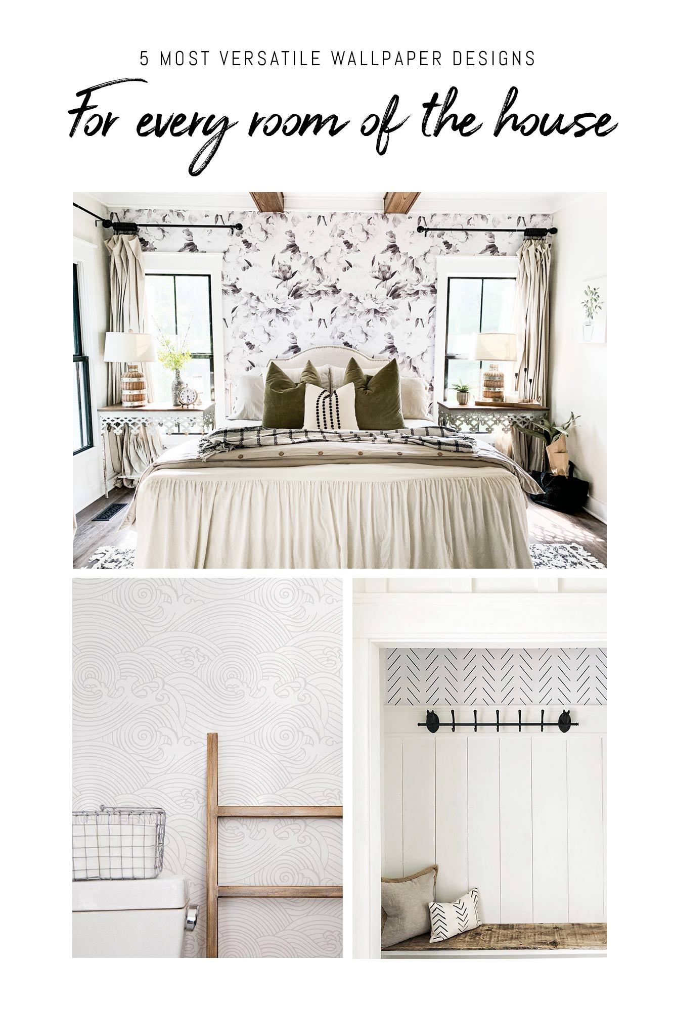 Modern farmhouse style wallpaper ideas for home interior