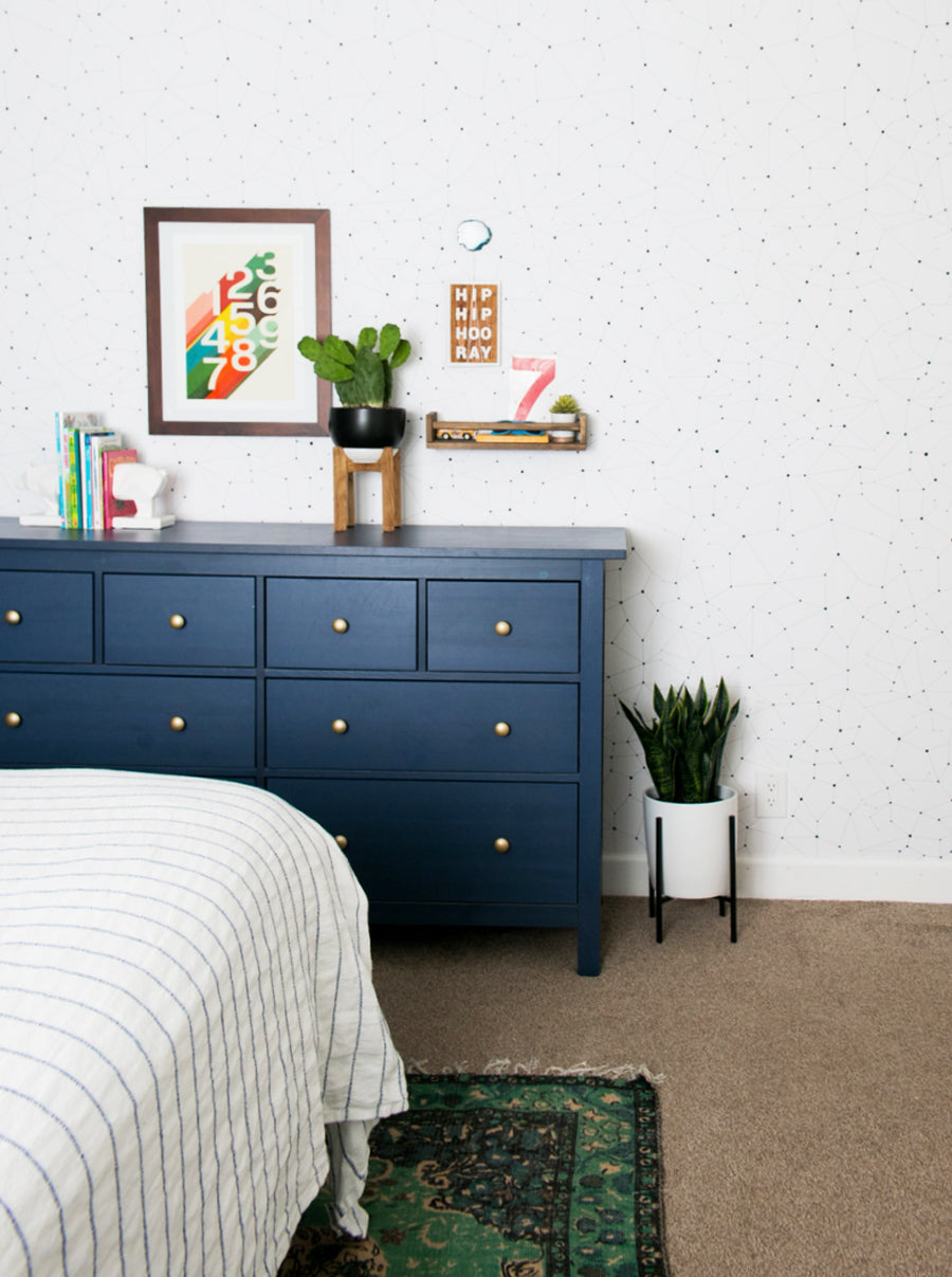 Styled dark blue dresser with gold hardware and cactus plants in boys room interior