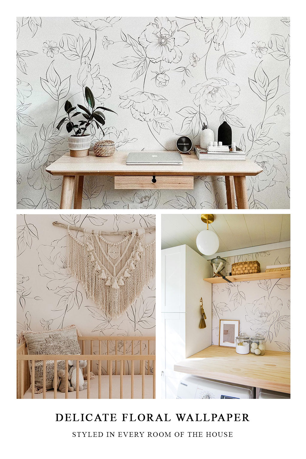 Oversized floral wallpaper styled in every room of the house in different interior styles