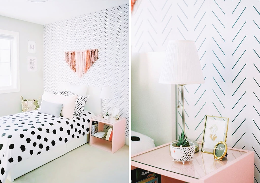 Herringbone wallpaper installed in girls bedroom interior