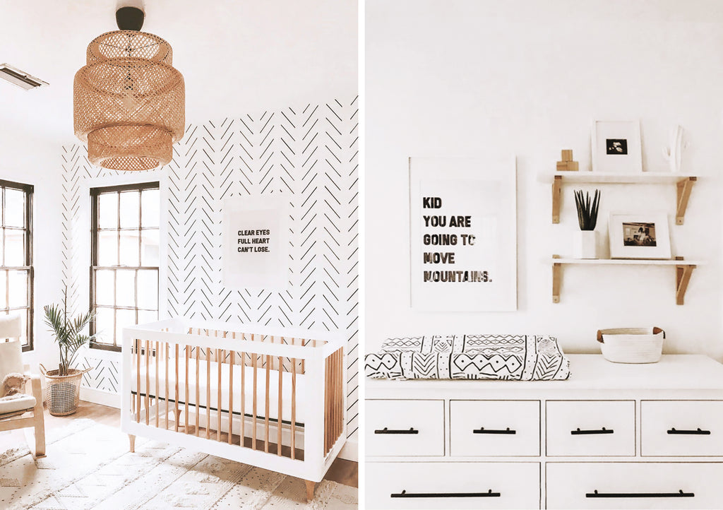 Scandinavian design nursery interior with Boho details