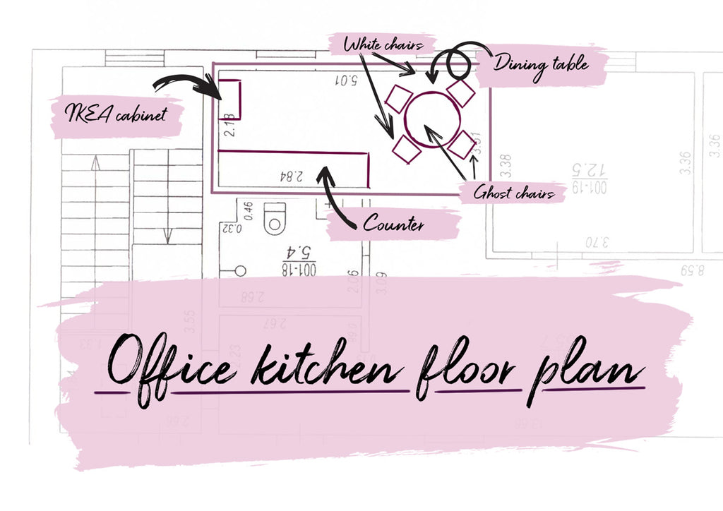 One Room Challenge 2018, office kitchen floor plan and design concept