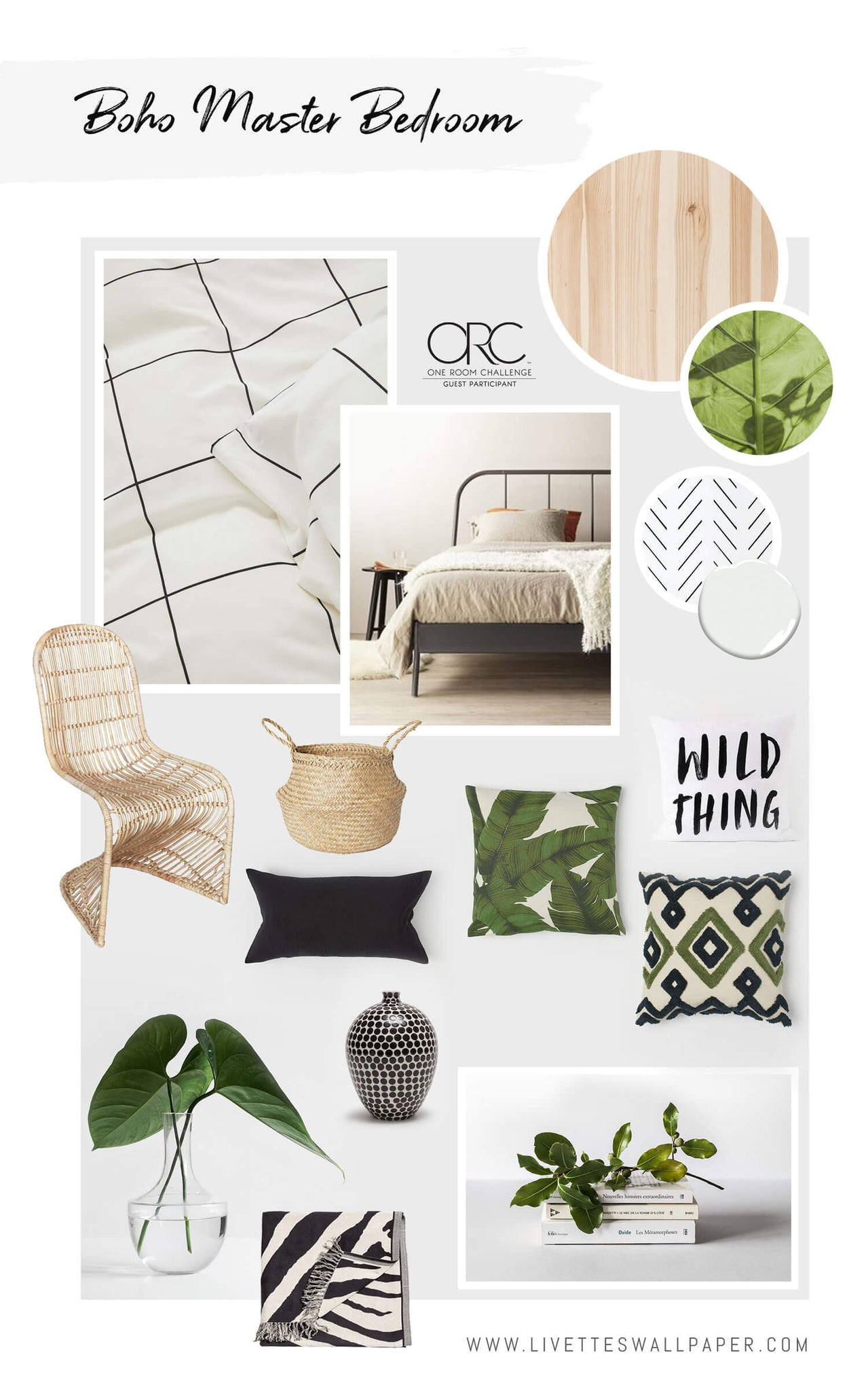 One room challenge 2019, spring series. Guest participant master bedroom remodel in modern bohemian interior style.