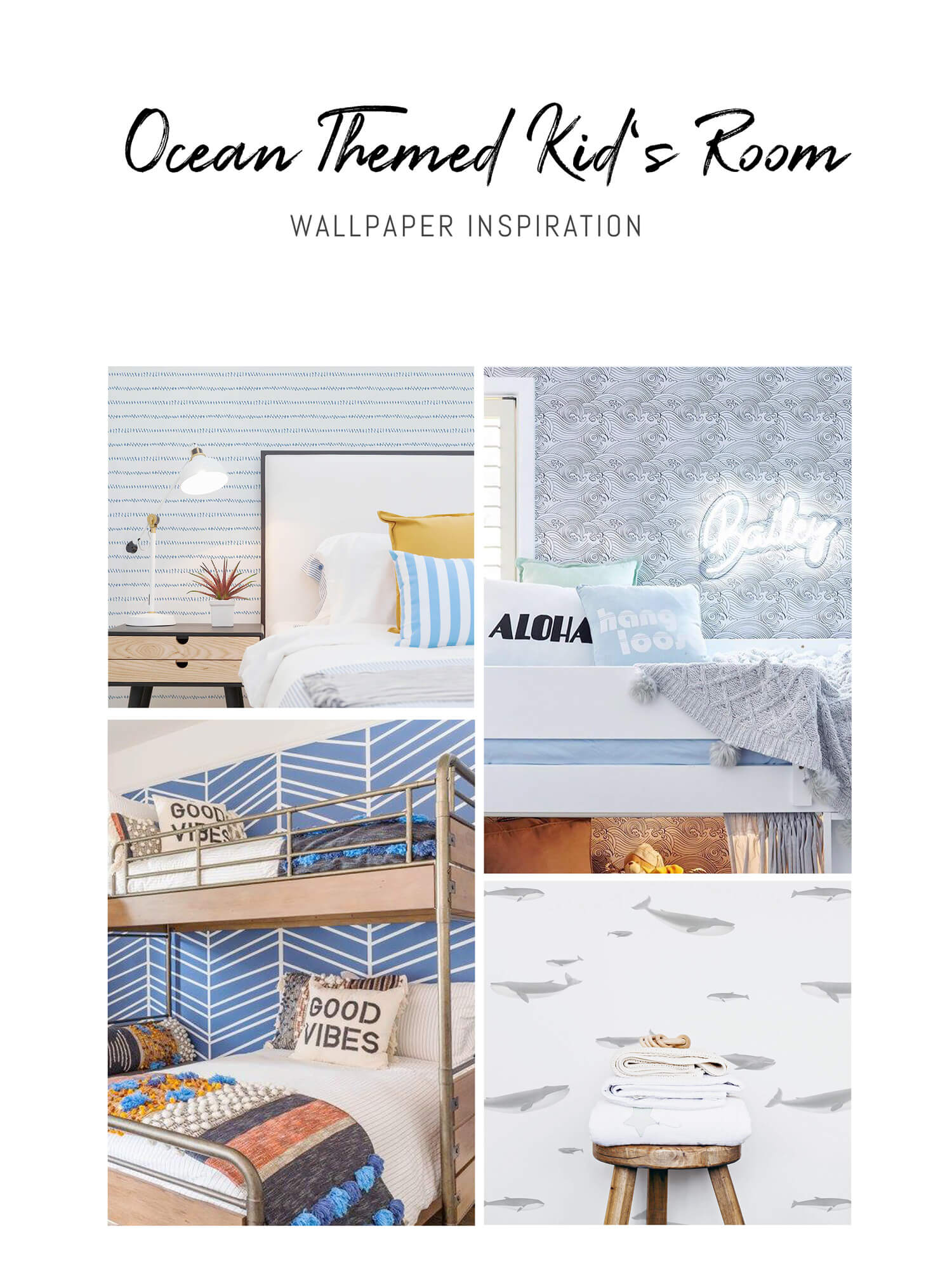 Modern beach theme kids bedroom interiors with nautical removable wallpaper