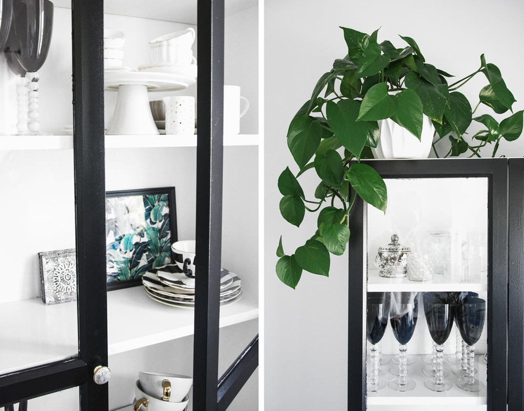 IKEA Billy / Oxberg cabinet styling with dinnerware and plants