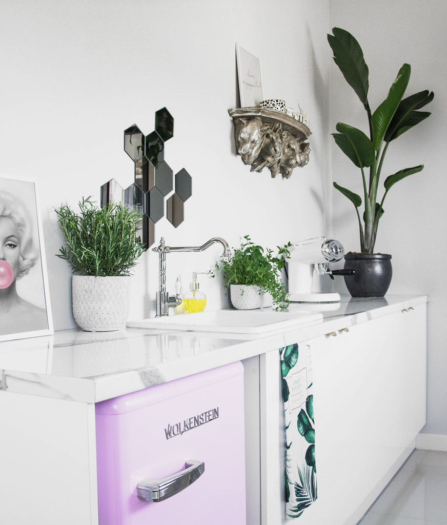 Modern retro kitchen with white cabinets, plants and pink retro fridge