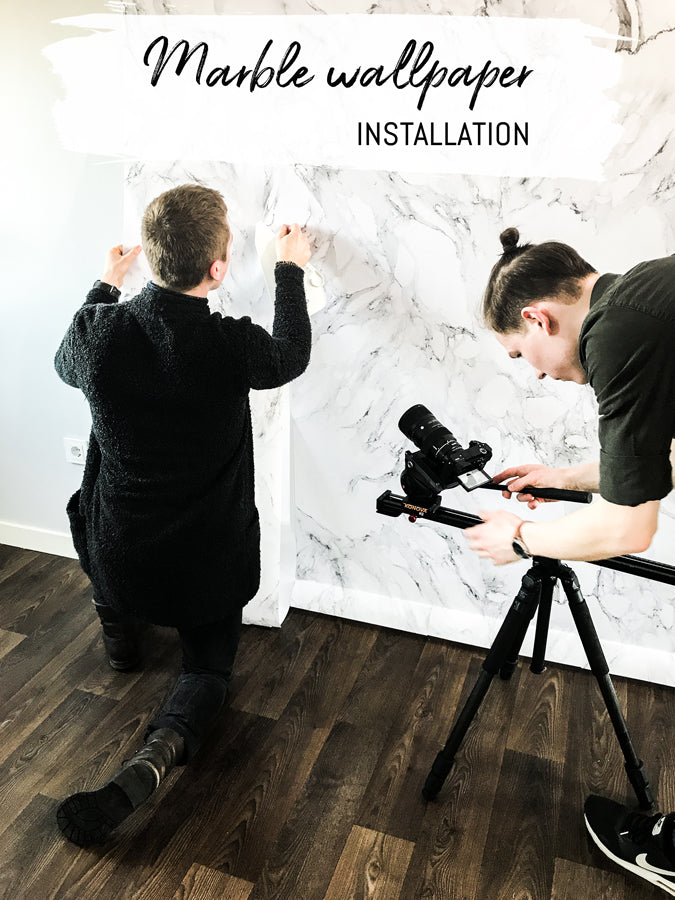 Marble removable wallpaper installation, One Room Challenge 2018