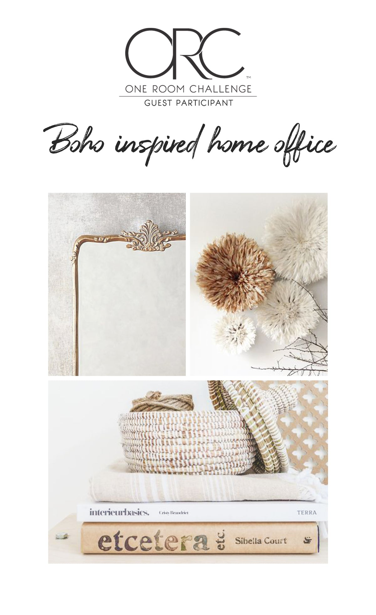 One Room Challenge, home office design, boho chic interior inspiration
