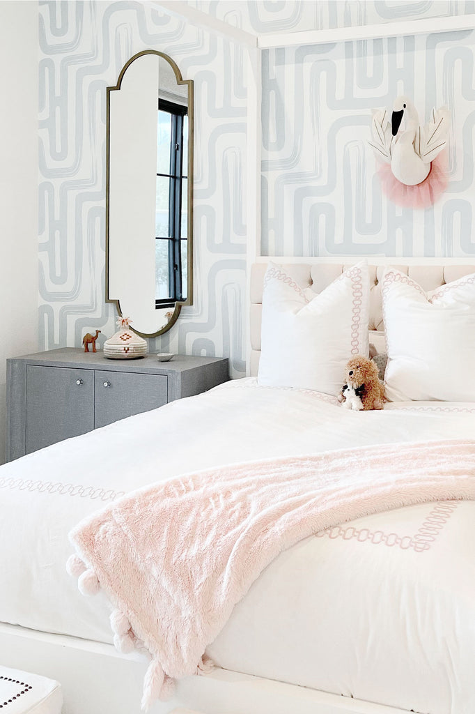 Trendy removable wallpaper in light blue color